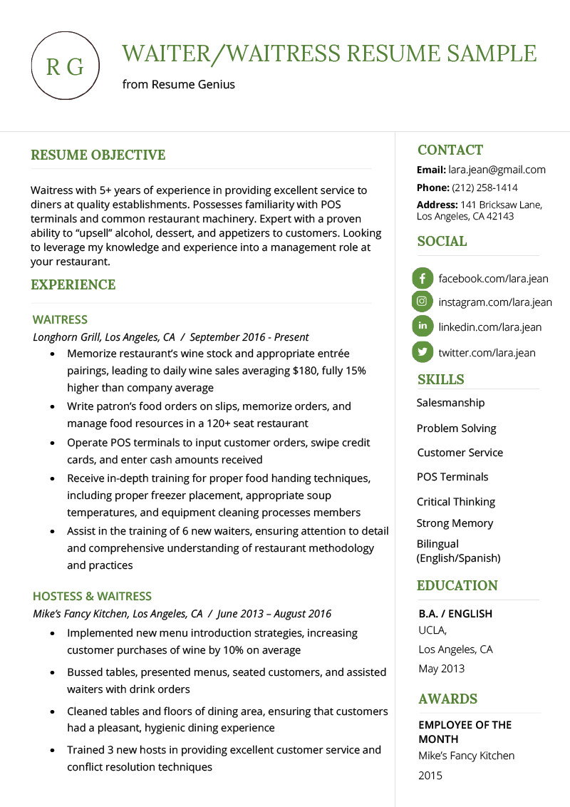 sample resume for a server