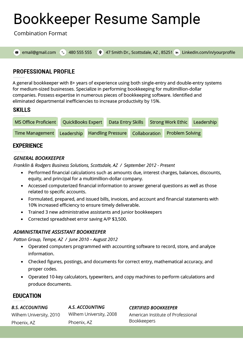 resume format combination