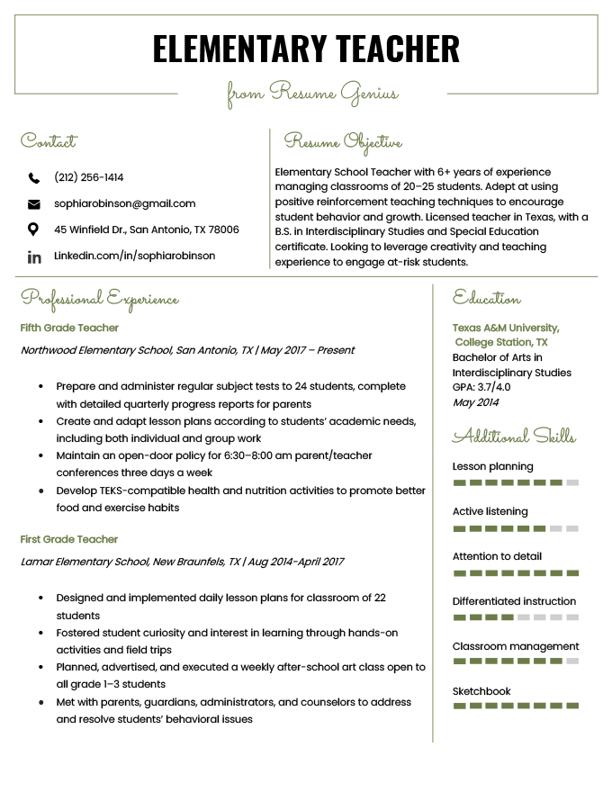 resume description for elementary teacher