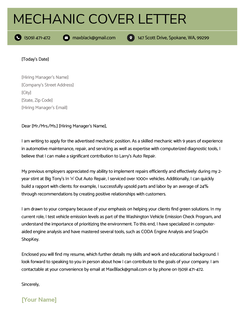 resume cover letter sample mechanic