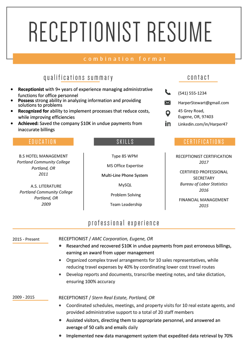 examples of combination style resume