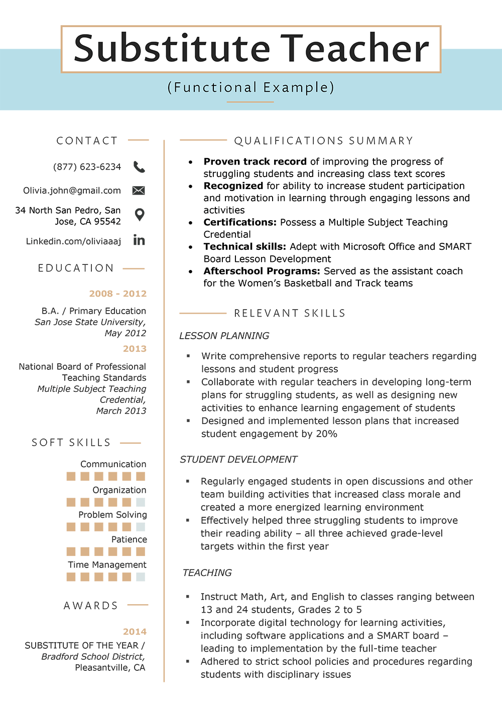 what is functional summary on resume example