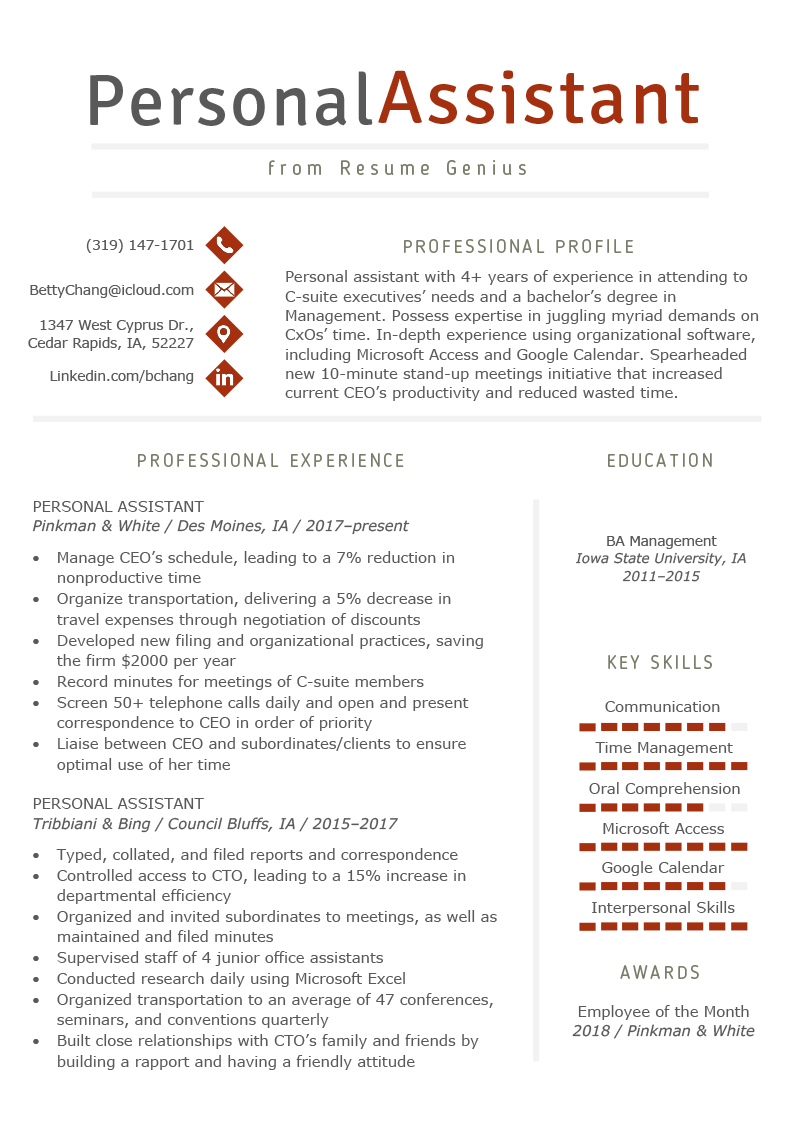 resume for a personal assistant