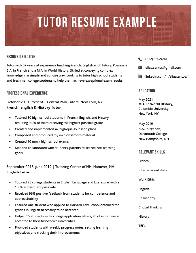 resume summary objective examples