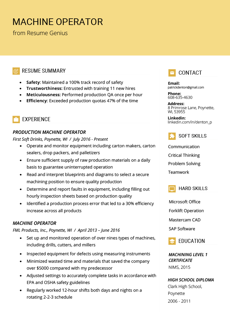 employment summary for resume examples