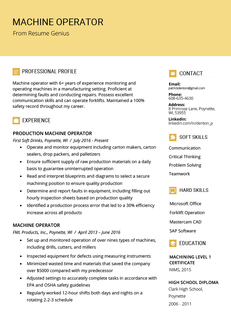 machinist resume summary example