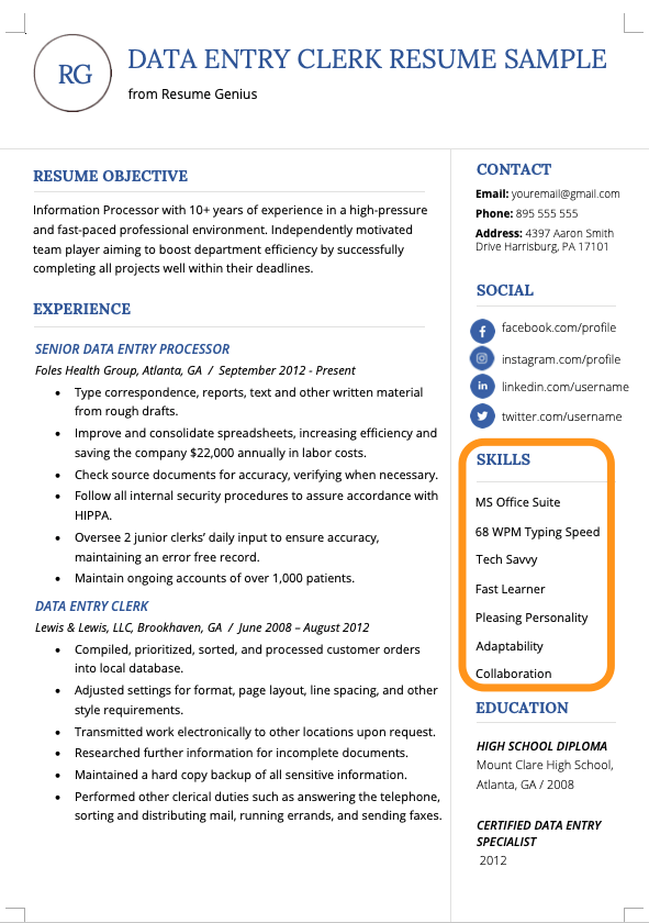 example of listing skills and abilities on a resume