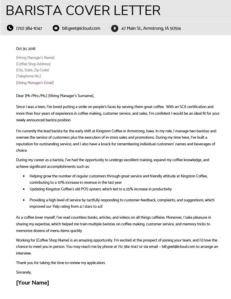 resume cover letter barista