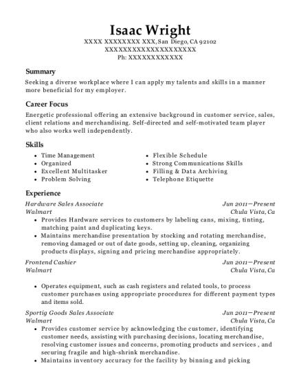 sample resume for walmart sales associate