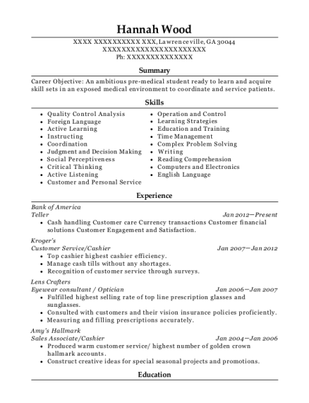 optician assistant resumes
