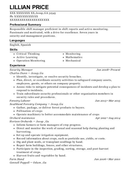 forestry resume samples
