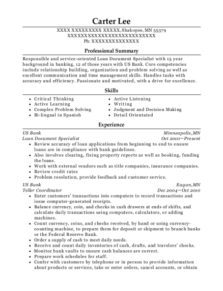 resume for loan document specialist