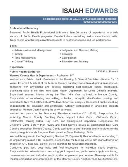 sanitarian resume example