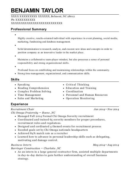 recruitment chair resume example