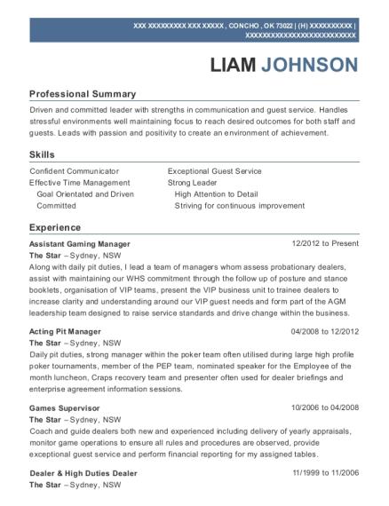 pit manager sample resume