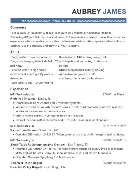 mri technologist resume sample