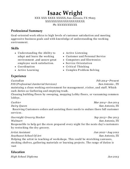 overnight custodian resume sample