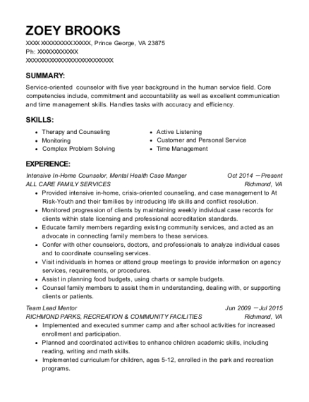 sample resume for qualified mental health professional