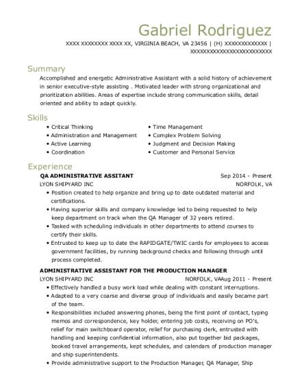 administrative assitant resumes