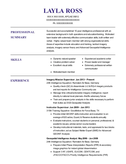 imagery analyst resume examples