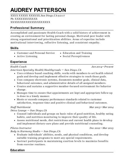 sample resume of health and wellness coach