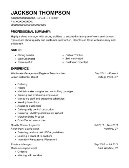 resume of cashier