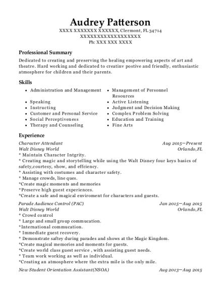 disney character attendant resume example