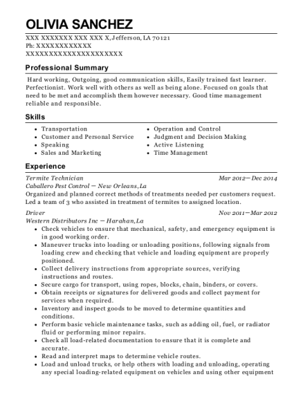 termite technician resume sample