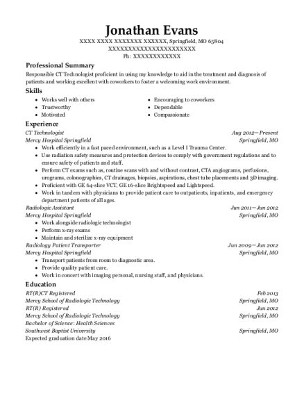 ct tech sample resume