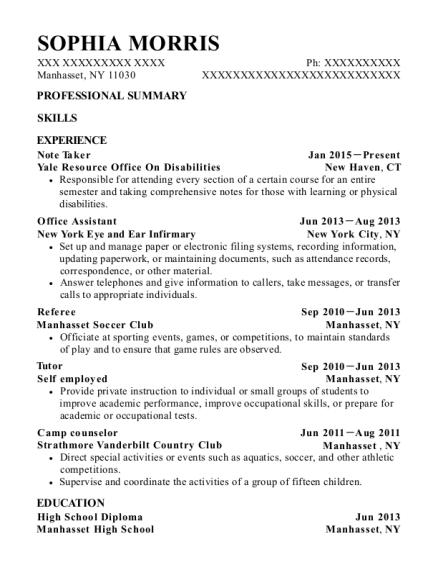 note taker resume sample