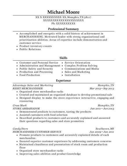 grocery reset merchandiser resume sample