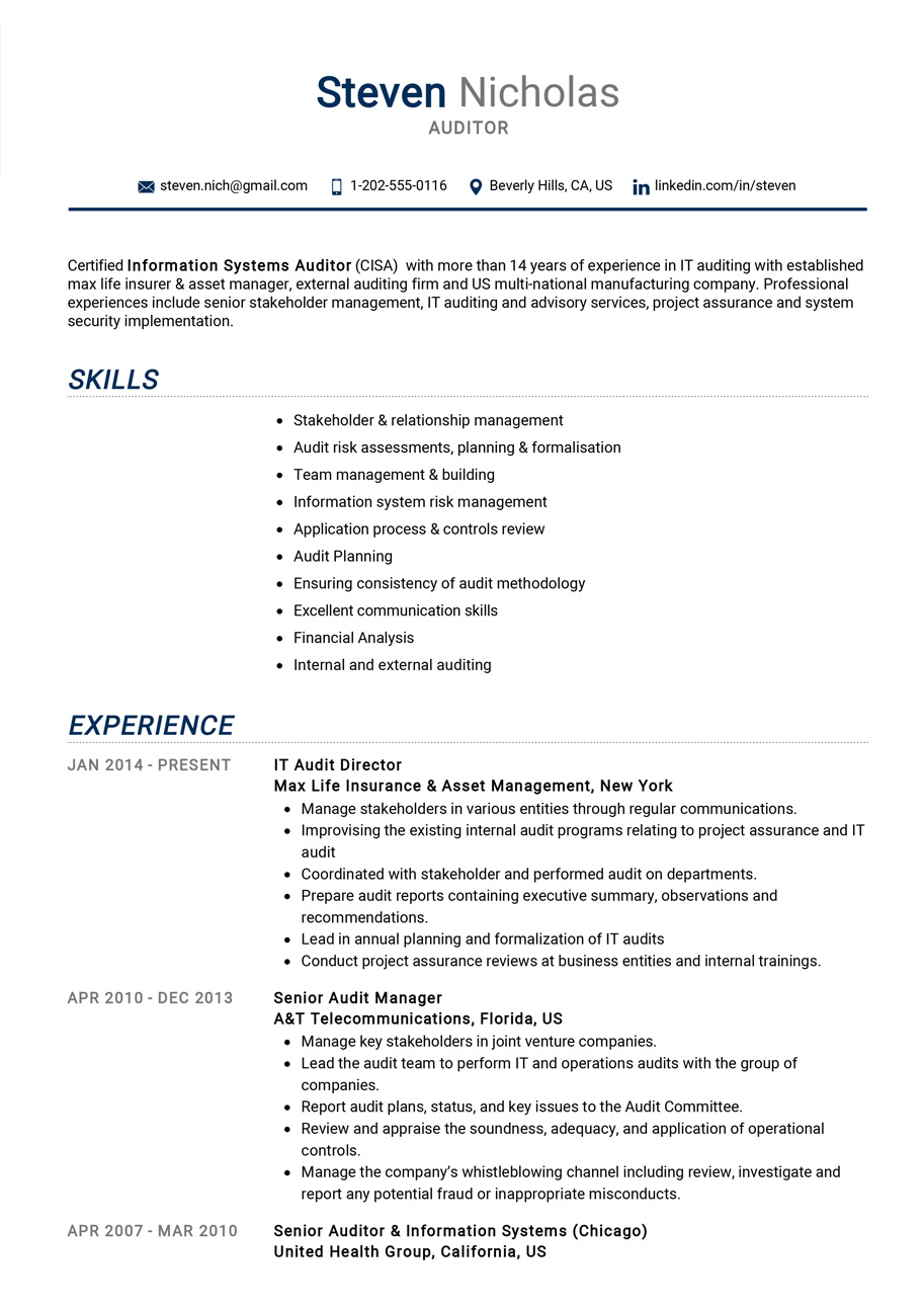 sample professional resume