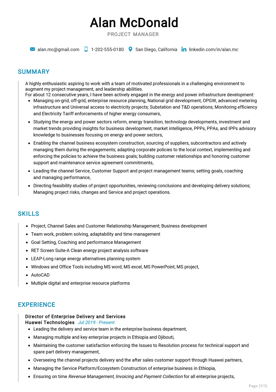 sample senior project manager resumes