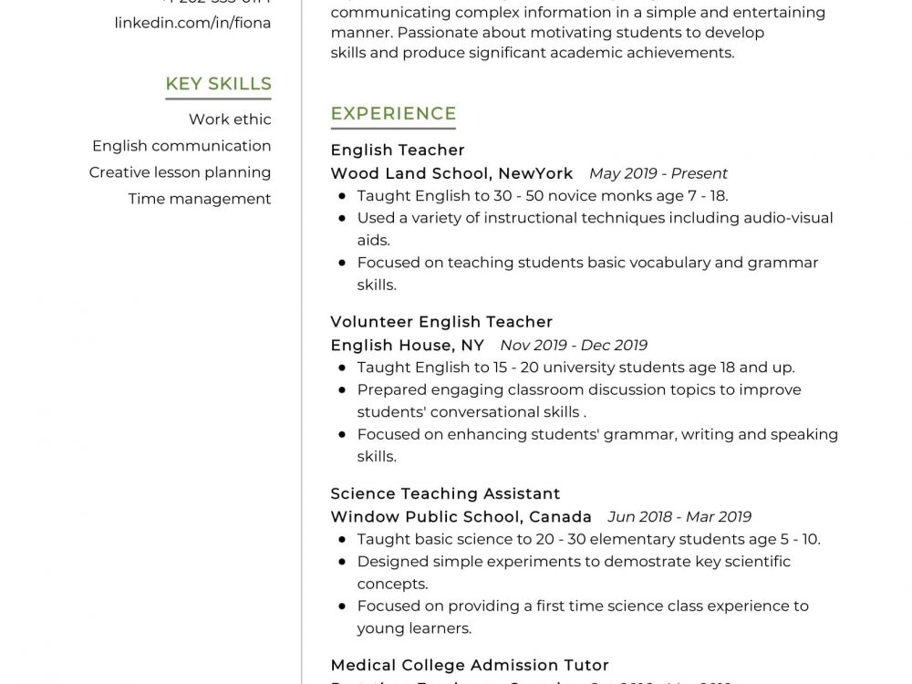 tefl teacher resume sample creative