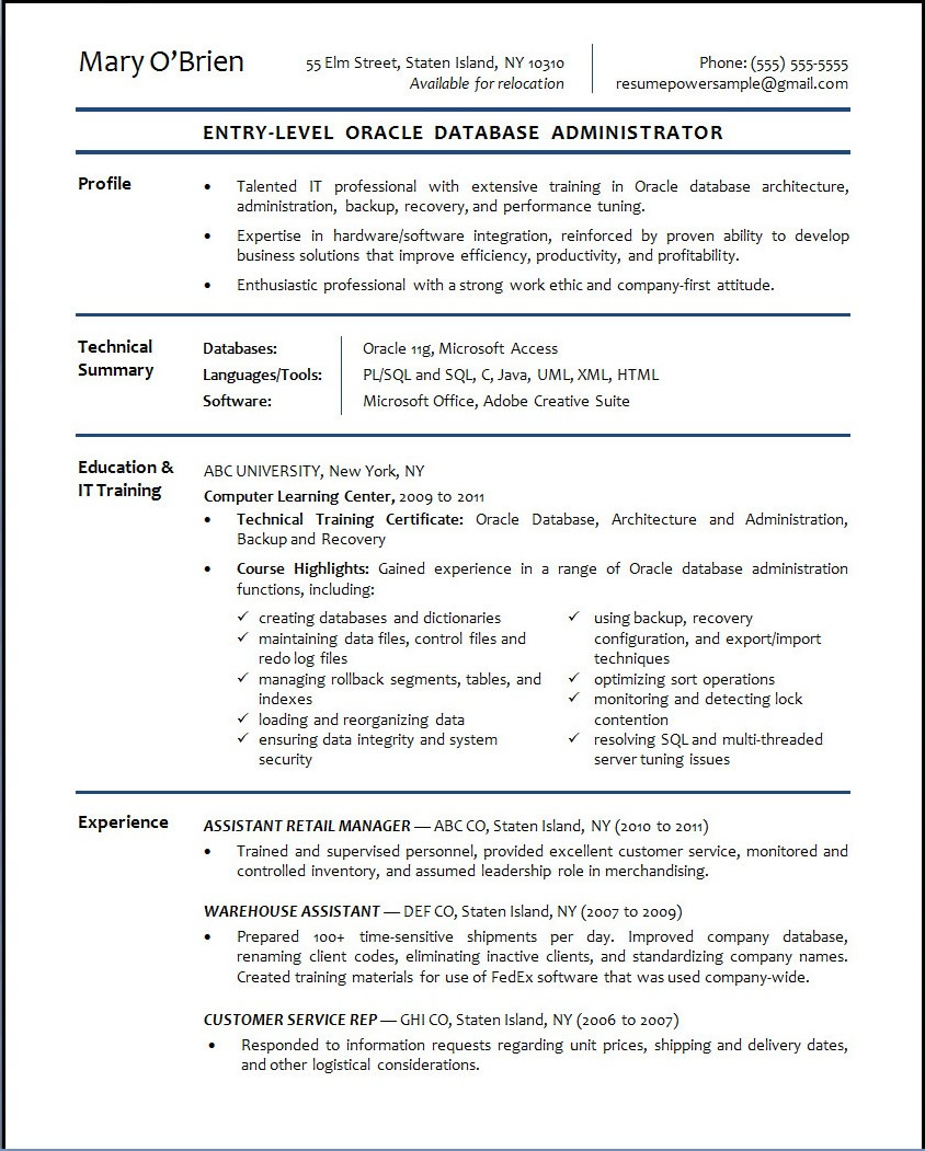 Resume Sample Resume Of Junior Dba Freshers template blank sql developer resume sample terrific 01 entryleveloracledatabaseadministrator for database a