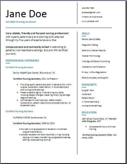 Download Cover Letter For Resume Certified Nursing Assistant Resume,examples,samples Free