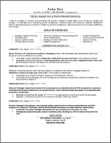 Objectives On A Resume Telecommunications Resume, Occupational:examples,samples