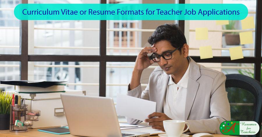 Curriculum Vitae CV or Resume Formats for Teacher Job Applications