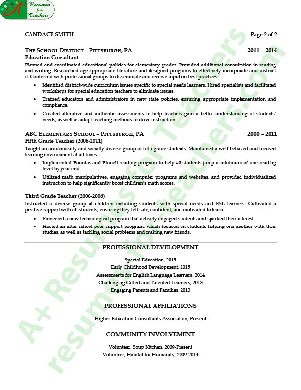 Education Consultant Resume Example - education on a resume example