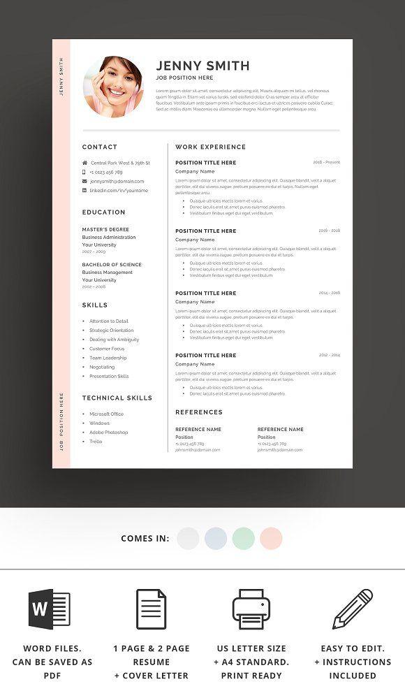 Resume Templates  Design  Resume Template Word Modern Clean CV