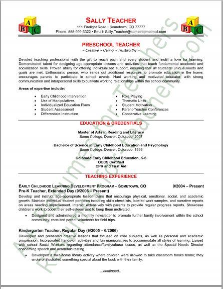 Resume Tips  Preschool Teacher Resume Tips and Samples - Resumestn