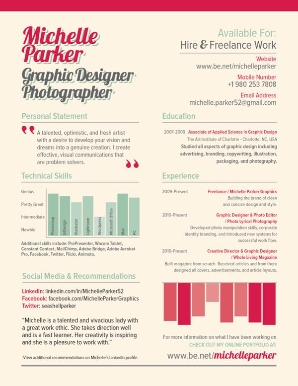 Resume infographic  Examples of Creative Graphic Design Resumes