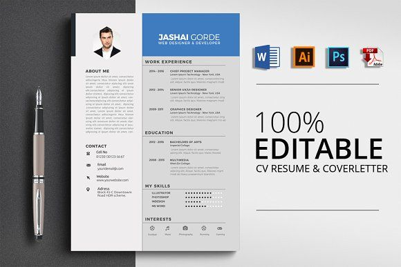 Resume Templates  Design  Corporate Word CV Resume CreativeWork247