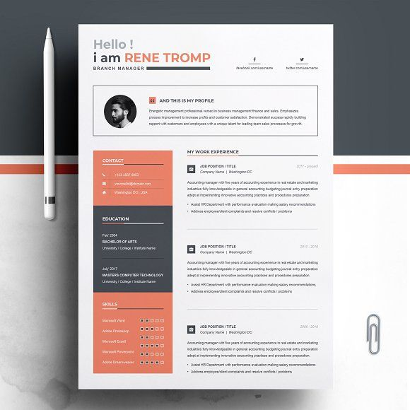 Resume Templates  Design  1 Page Professional Resume Template