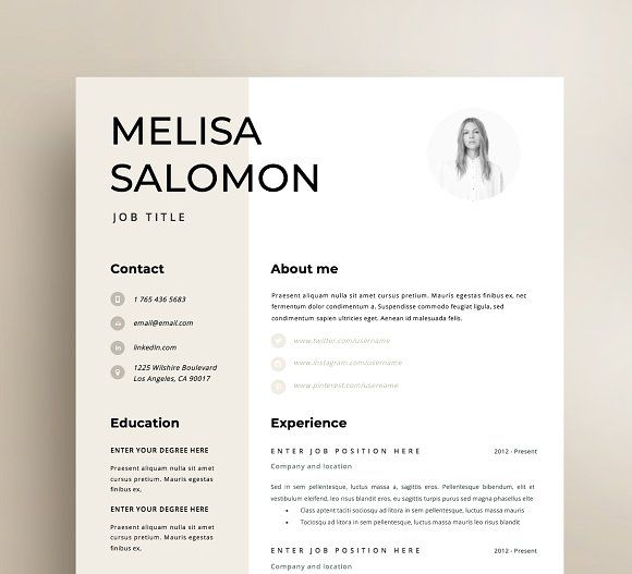 Resume Templates  Design  Resume Template 1 page Rome