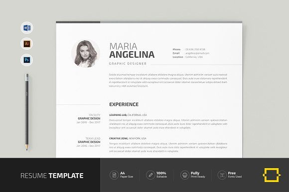 Resume Templates  Design  Resume CreativeWork247 - Fonts, Graphics