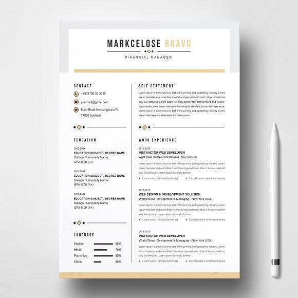Resume Templates  Design  Curriculum Vita Resume CV Design
