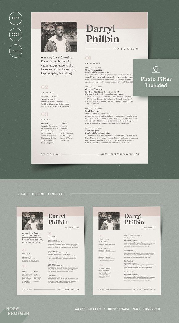 Resume Templates  Design  2 Page Resume with Picture / CV