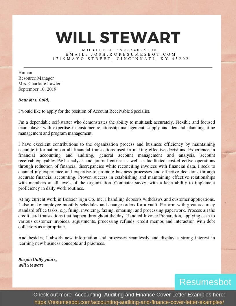 cover letter for entry level accounting  cover letter