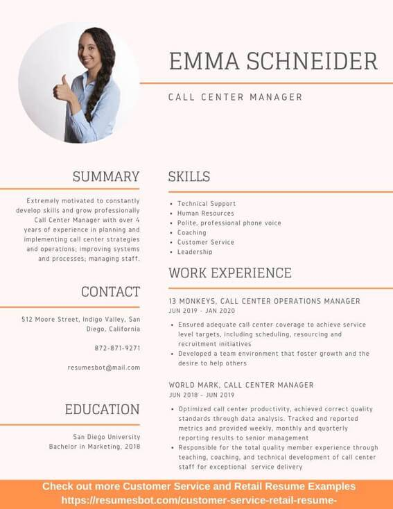 profile summary in resume for call center